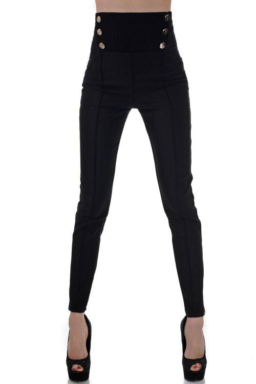 черен дамски панталон висока талия