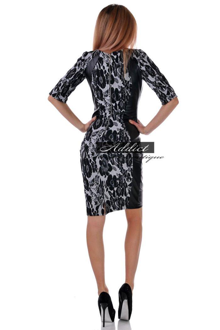 рокля еко кожа и жакард