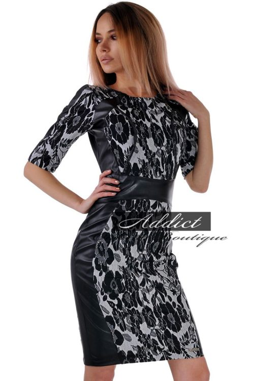 рокля с 3/4 ръкав черо бяла