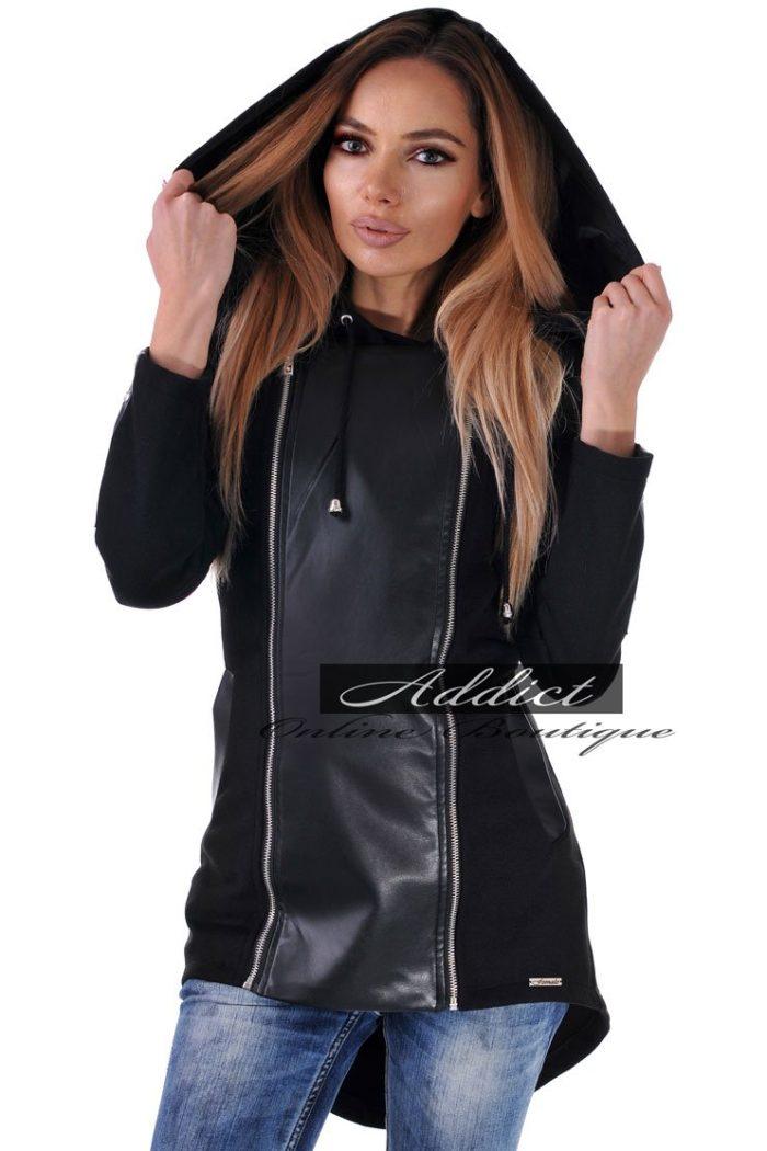 българско яке черно от кашмир с качулка