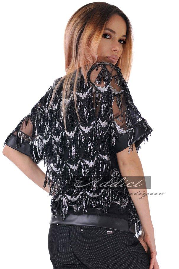 българска блуза черна на ресни