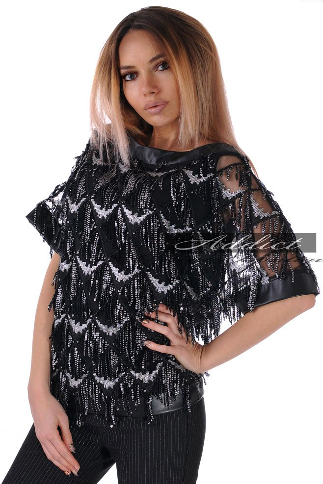 блуза черна на пайети