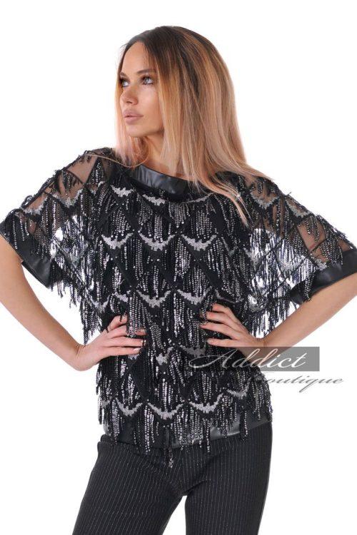 дантелена блуза на пайети и 3/4 ръкав