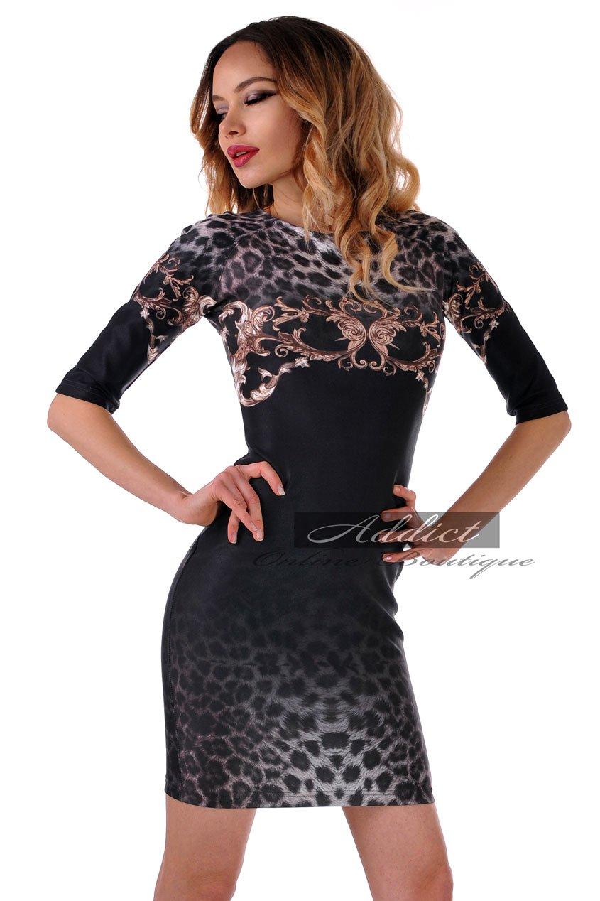 рокля черна орнаменти 3/4 ръкав