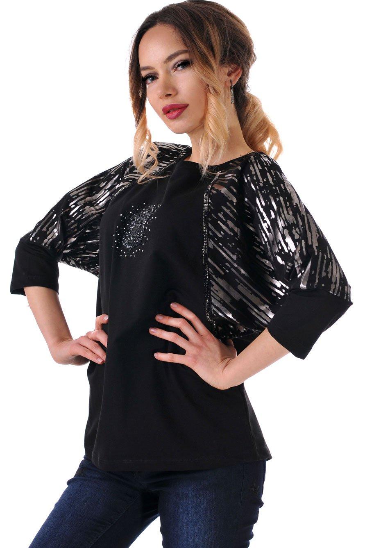 блуза черна с лъскави елементи