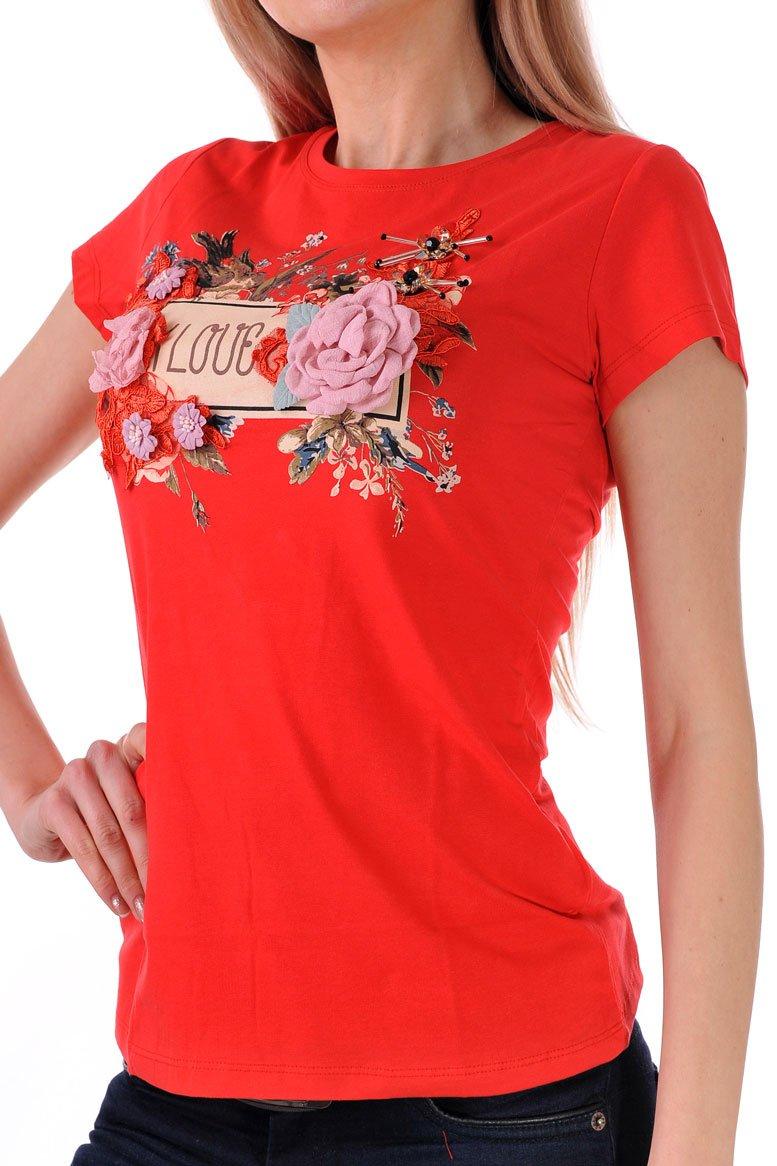 червена дамска тениска