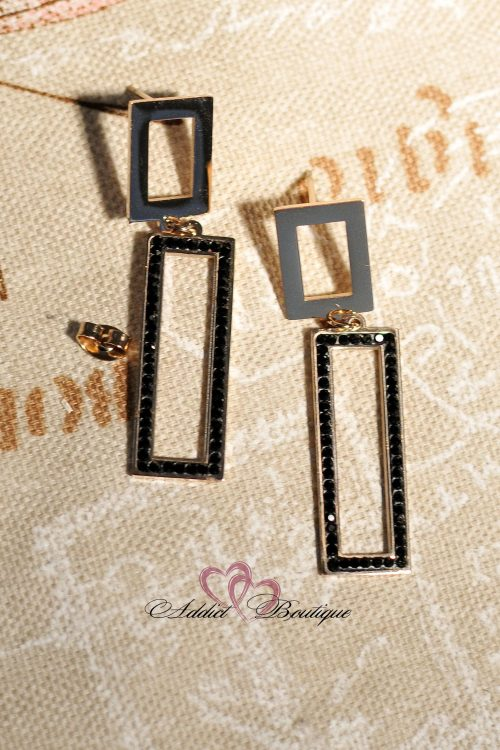 стоманени златни черни обеци