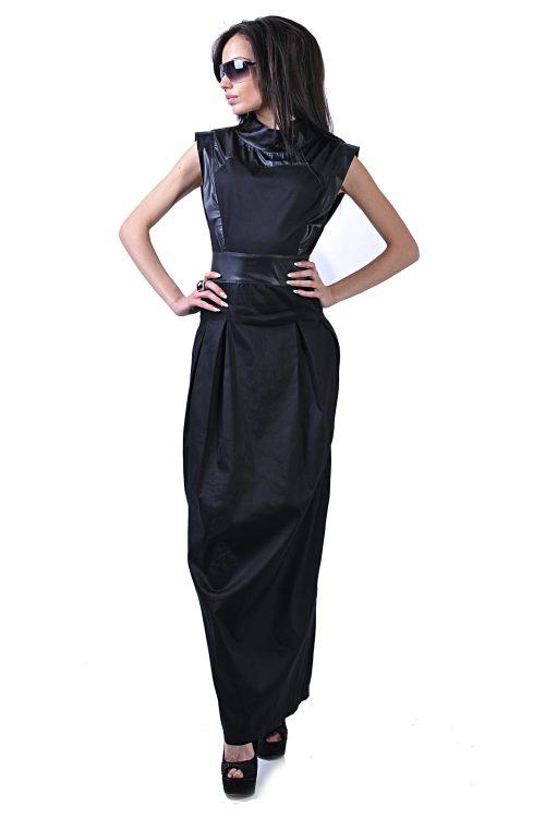 c75535b462d Дълга черна рокля EXTRAVAGANT
