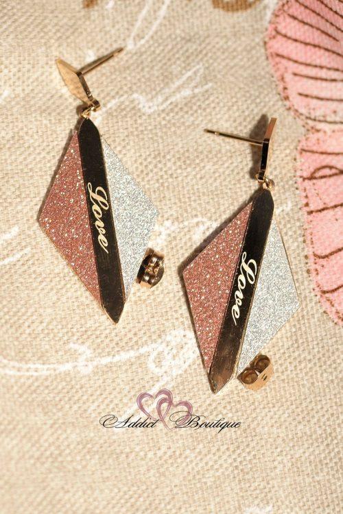 обеци стомана и розови камани