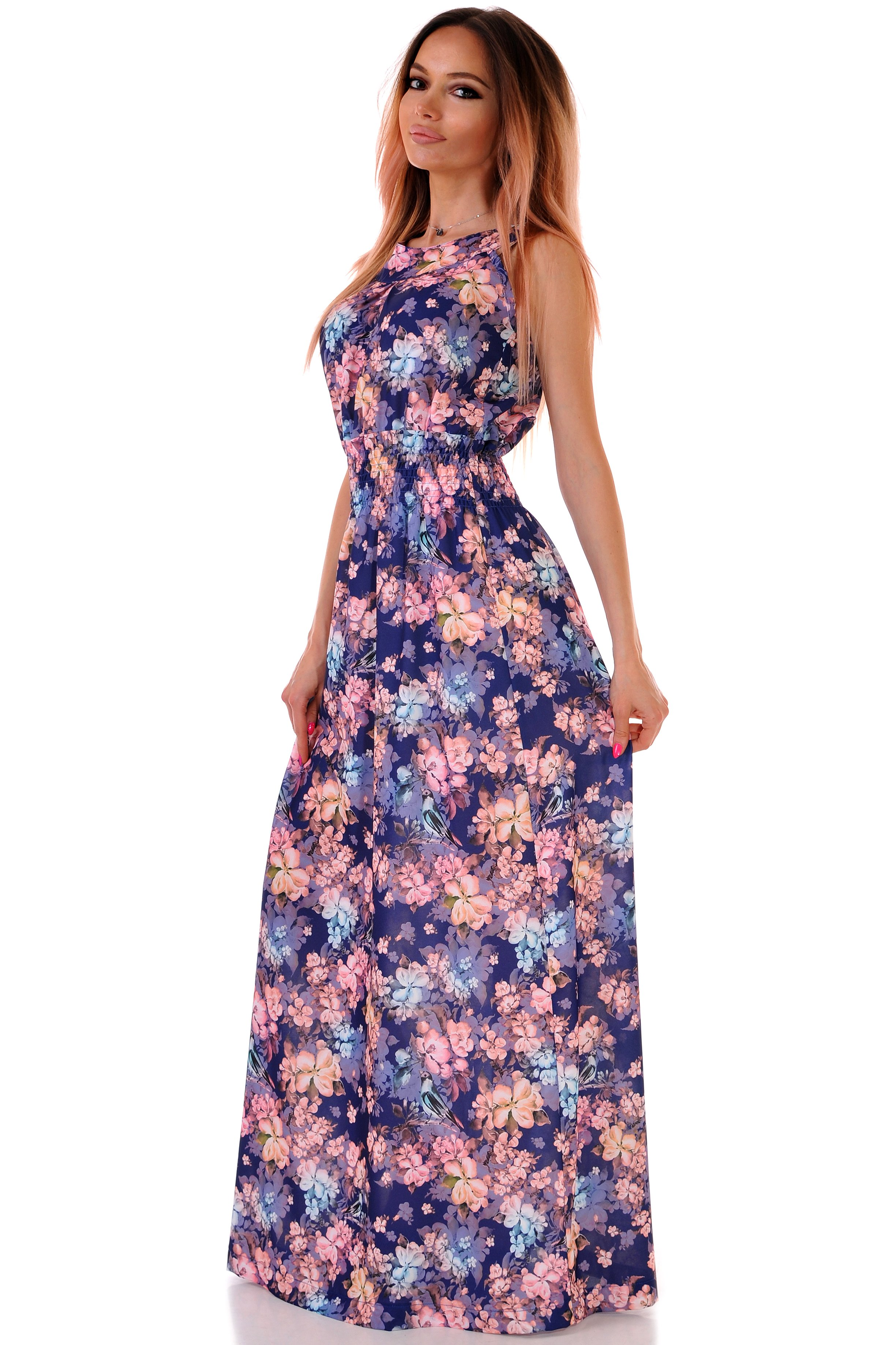 дълга лятна рокля на цветя