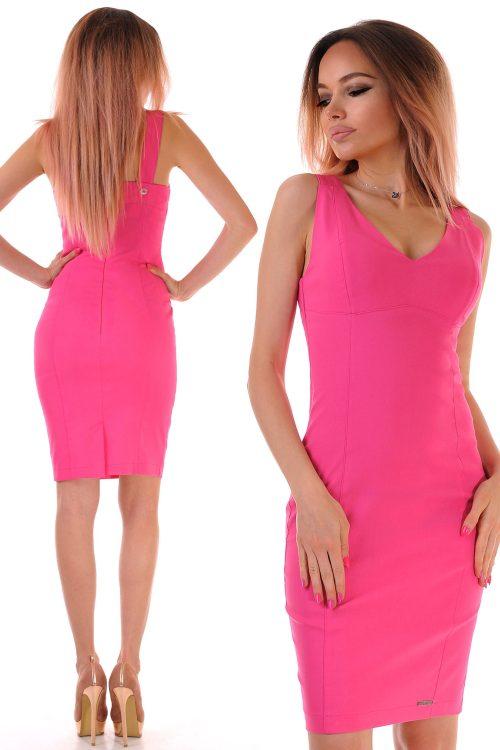 розова вталена рокля