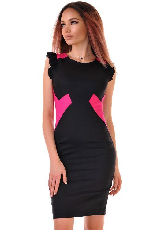 рокля черно с циклама