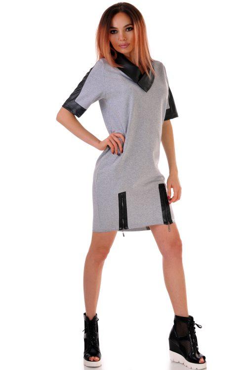 сива свободна рокля
