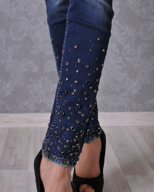 дънки сини с перли
