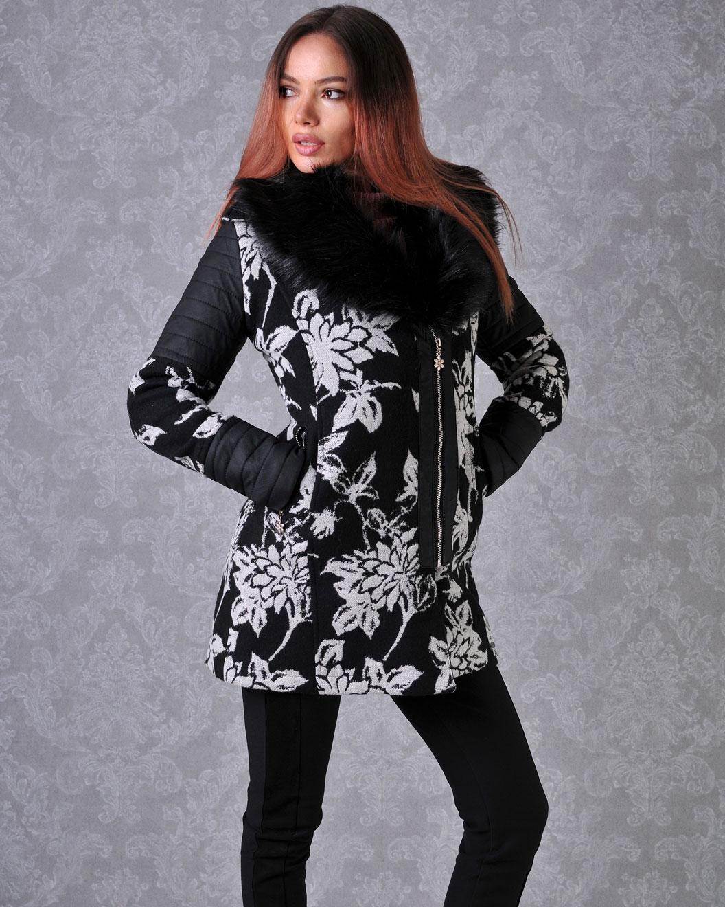 палто зимно на цветя